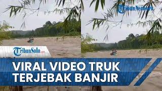 Viral Video Truk Sawit Terjebak Banjir di Tengah Sungai, Sopir dan Kernet Selamat