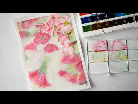 Watercolor cherry blossom flowers painting - easy for beginners with free sketch