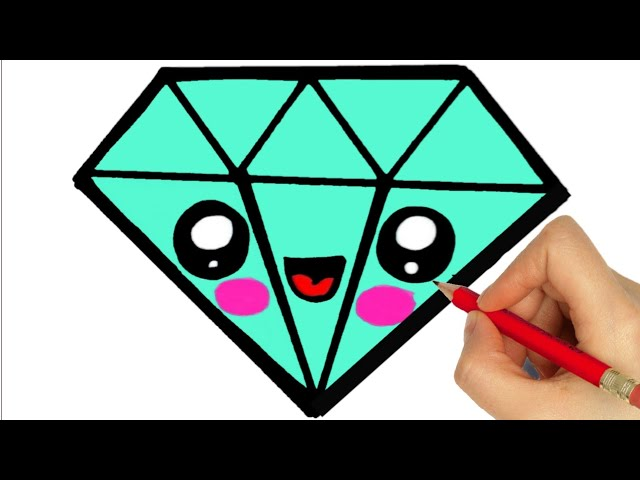 step by step how to draw a diamond