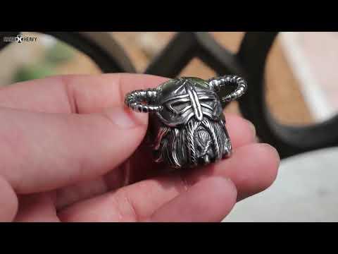 Vikings Helmet Warrior Ring / Nordic Vintage Heavy Stainless Steel Rings / Unique Jewelry