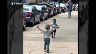 All The Feels: Toddler Boys Run To Give Each Other A Great Big Hug