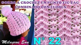 Gorro A Crochet En Punto Zig Zag Para Niñas Combinado Con Flores PequeÑas  Paso A Paso 5086b5e96f3