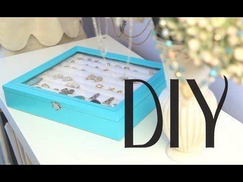 DIY Rings & Earrings Jewelry Display Box Organizer {Tiffany & Co inspired Theme}
