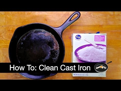 Clean A Cast Iron Frying Pan With Bamboo Skewers