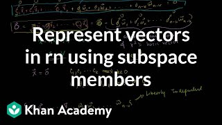 Lin Alg: Representing vectors in Rn using subspace members