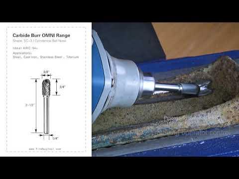 FindBuyTool Carbide Burr SC-3 Cilindro Cilindro Nariz Omni Range Head D 3/8 x 3 / 4L, 1/4 Shank, 2-1 / 2 polegadas Comprimento total