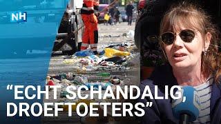 Puinruimen in Amsterdam: straten vol glas en troep na Koningsdag