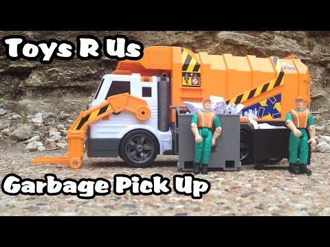 Toys R Us Garbage Truck Picks Up Trash l Front Loader and a Toy AMBULANCE
