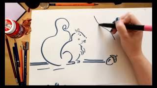 Como dibujar una Ardilla - dibujos para niños