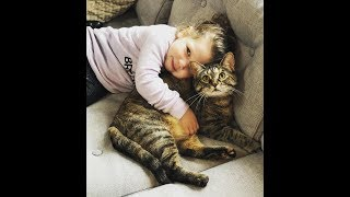 Adopted Kitten Bonds with Baby Girl - Growing Up Together