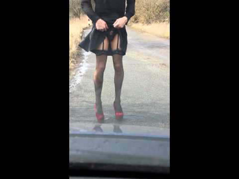 Outdoor slut walks outside ballgag