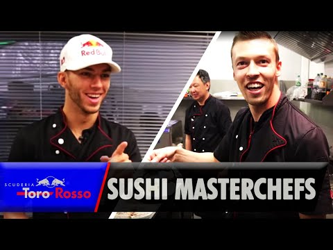 Sushi Masterclass! Pierre Gasly & Daniil Kvyat Cook for Honda