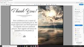 Create Condolence Thank You Card Yourself (Quickease Templates)