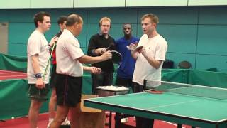 Damon Albarn, Blur & Gorillaz, practices table tennis multi-ball with England coach for Radio 4