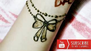 Bow Henna Design - Beautiful Ribbon Tattoo Mehndi For Wrist, DIY Easy Temporary Jewelry Mehendi