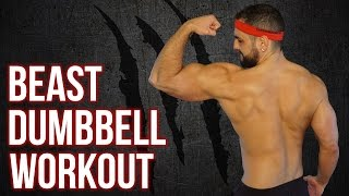 10 Minute No-Gym Total Body Beast Home Workout | (Dumbbell ONLY Home Workout Routine) by BarbarianBody