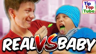 BABY FOOD vs. REAL FOOD CHALLENGE - TipTapTube
