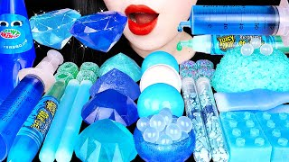ASMR BLUE DESSERTS *스노볼 마시멜로우, 닉클립 왁스병, 보석젤리 JUICY DROP, NIK-L-NIP WAX BOTTLE EATING SOUNDS 먹방