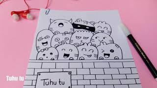 Cute Pusy Cats Doodle Art | Menggambar Doodle Kucing Lucu | Speed Doodling