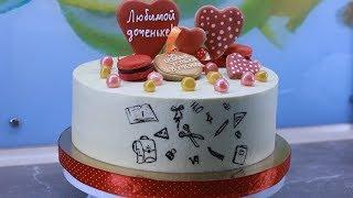 Новый рецепт Торта с незабываемой начинкой и украшением пряниками и макаронс. Как собрать торт