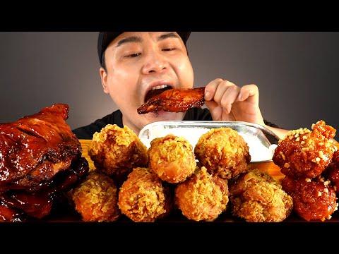 황금올리브닭다리, 반반양념, 자메이카 먹방~!! 리얼사운드 ASMR social eating Mukbang(Eating Show)