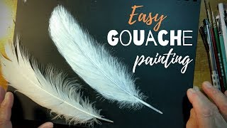 Easy Feather Gouache Painting Demonstration Time Lapse Speedpaint