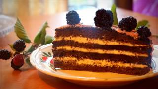 შოკოლადის ტორტი მაყვალით