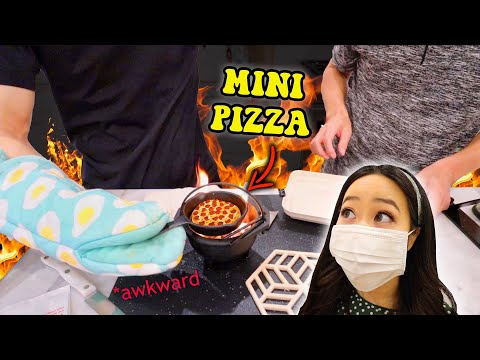 Chinese Fiance & Korean Dad COOKING CHALLENGE: MINI PIZZA *can't communicate