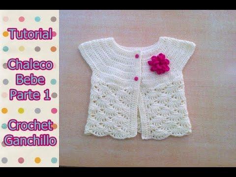 DIY Como tejer chaleco bolero para bebe niña con flor a crochet, ganchillo (1/2)