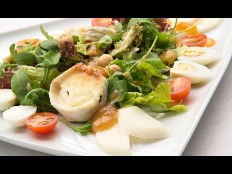 Receta de ensalada de queso de cabra con vinagreta de membrillo