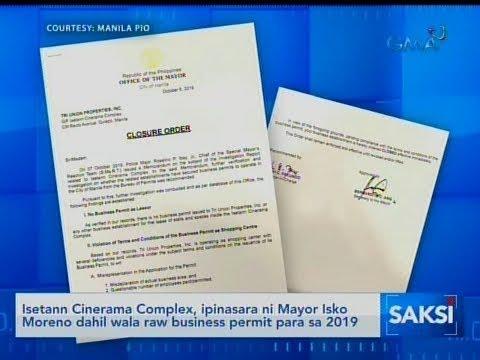 [GMA]  Saksi: Isetann Cinerama Complex, ipinasara ni Mayor Isko Moreno dahil…