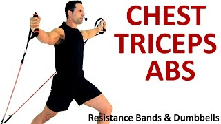CHEST - TRI - ABS: Resistance Bands & Dumbbells by Coach Ali