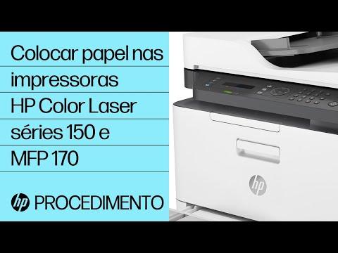 Colocar papel nas impressoras HP Color Laser séries 150 e MFP 170