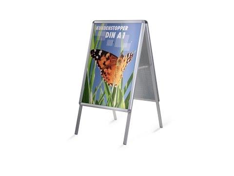 Kundenstopper    Alu-Wechselrahmen als Aufsteller für Poster im Format DIN A1 --Aufbau-Anleitung