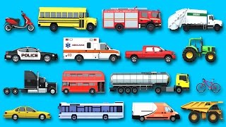 Learning Street Vehicles Names Sounds For Kids Learn Cars