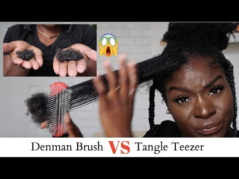 Tangle Teezer VS Denman Brush **SHOOK** Hair Loss Comparison 4C Natural Hair