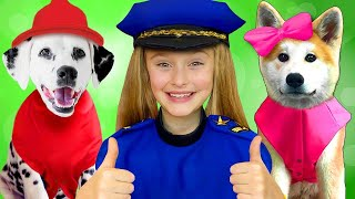 Sasha and Doggies Superheroes in stories about saving toys