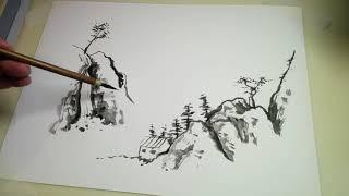 Japanese Sumi-e Ink Painting Scene