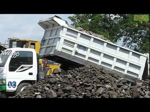 Dump Truck  Isuzu Elf Unloading Stone