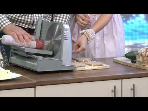 Rosenstein & Söhne Elektrischer Premium-Allesschneider, Aluminium 100W