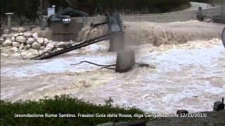 preview picture of video 'Esondazione fiume Sentino. Gola della Rossa, Frasassi, diga di Genga Stazione, San Vittore.'