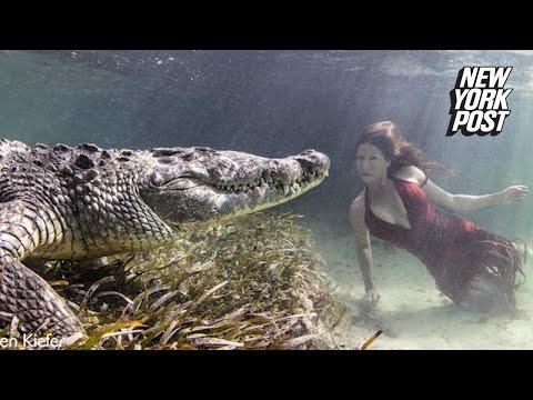 فيديو| مشاهد تحبس الأنفاس .. عارضة أزياء في جلسة تصوير مع تمساحٍ ضخم تحت الماء!