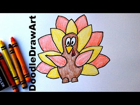 How To Draw a Cartoon Thanksgiving Turkey - Easy Cartoon Style Drawing Tutorial for Kids!