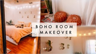 ♡ EXTREME BOHO BEDROOM MAKEOVER | TRANSFORMATION + ROOM TOUR ♡