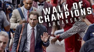 Watch Alabama arrive for the Walk of Champions prior to playing the Arkansas Razorbacks