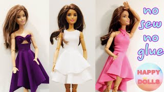 Easy DIY 👗 Doll Clothes No Sew No Glue #dolls #barbie #happydolls