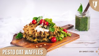 Breakfast Pesto Oat Waffles (Gluten Free Healthy- With & Without Eggs) - Smritis Special Episode 11