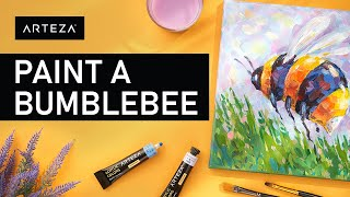 Painting A Bumblebee With Acrylics // ACRYLIC PAINTING TUTORIAL