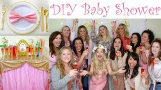 My Baby Shower! (Behind The Scenes) | DIY Pink & Gold Girl Baby Shower On A Budget // Lindsay Ann