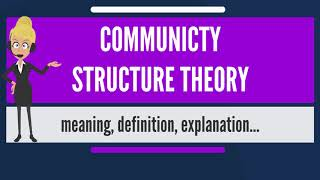 What is COMMUNITY STRUCTURE THEORY? What does COMMUNITY STRUCTURE THEORY mean?